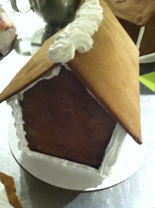 My gingerbread house after I put it together but before I started the decoration process.